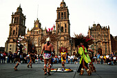 Maya Folklore and cathedral in the background, Zocalo, Mexico City, D.F., Mexico