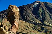 Roque Cinchado and Pico del Teide, Peak of Teide, 3718m, the island´s landmark, country high point, Teide National Park, Tenerife, Canary Islands, Spain