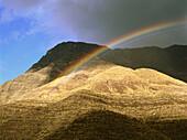 Rainbow at Faneque Mountain, Valley of El Risco de Agaete, Tamadaba Natural Park, Gran Canaria, Canary Islands, Spain