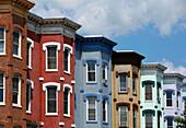Colourful facades of row houses, Washington DC, America, USA