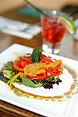 Close up of a gourmet dish at Tabaq Restaurant, Washington DC, United States, USA