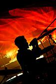 Musician singing in the Black Cat Club, Washington DC, United States, USA