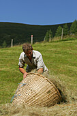 Dairyman with Willow Basket, Hay Harvest, Glettenalm, Nationalpark Hohe Tauern, Salzburger Land, Austria