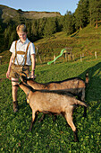 Shepherd with goats, Hohe Tauern, Salzburger Land, Austria