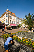 View over Alter Platz (first pedestrian area of Austria), Klagenfurt, Carinthia, Austria