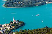 Aerial shot of Maria Wörth, Wörthersee (biggest lake of Carinthia), Carinthia, Austria