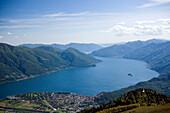 View from Monte Cimetta (1671 m) to Locarno and Ascona at Lake Maggiore, Ticino, Switzerland