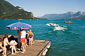 Waterski school at lake Wolfgangsee, St. Gilgen, Salzkammergut, Salzburg, Austria