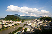 Panoramic view over Salzburg with Salzach, Hohensalzburg Fortress, largest, fully-preserved fortress in central Europe, Salzburg Cathedral, Franciscan Church, St. Peter's Archabbey and Collegiate Church, built by Johann Bernhard Fischer von Erlach, view t