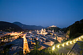 Panoramic view over Salzburg with Salzach, Hohensalzburg Fortress, largest, fully-preserved fortress in central Europe, Salzburg Cathedral, Franciscan Church, St. Peter's Archabbey and Collegiate Church, built by Johann Bernhard Fischer von Erlach in the