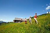 Hikers leaving Bichlalm 1731 m, Grossarl Valley, Salzburg, Austria