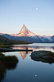 Matterhorn (4478 m) reflected in Stellisee (2573 m), Zermatt, Valais, Switzerland