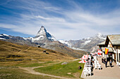 View on terrace of the mountain restaurant Riffelberg (station of the Gornergrat Bahn), Matterhorn (4478 m) in background, Zermatt, Valais, Switzerland