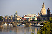 River Elbe and the old town of Dresden, Saxony, Germany