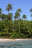 Tourists at the beach, Fafa Island Resort, Tonga, South Seas