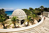 Palms surrounding an oriental domed building, Thermae Kallithea, Rhodes Town, Rhodes, Greece