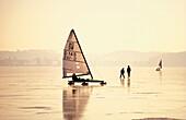 Ice yachting on lake Woerthsee, Bavaria, Germany
