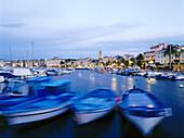 Townscape with harbour, Sanaray-sur-Mer, Cote d´Azur, Var, Provence, France, Europe