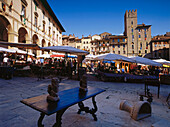 Antiques market at Piazza Grande, Arezzo, Toscany, Italy