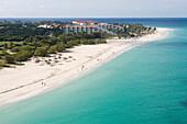 Luftaufnahme vom Eagle Beach, Aruba, ABC-Inseln, Niederländische Antillen, Karibik