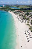 Aerial Photo of Eagle Beach and High-Rise Hotels of Palm Beach, Aruba, Dutch Caribbean