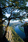 View over Elbe River, Bastei, Elbe Sandstone Mountains, Saxon Switzerland, Saxony, Germany