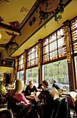 People inside Cafe Brinkmann at Grote Markt, Haarlem, Netherlands, Europe