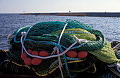Fishing nets, Urk harbour, Netherlands, Europe