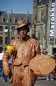 Street performer at the Dam square, Amsterdam, Netherlands, Europe