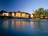 View over river Isar, Bad Toelz, Bavaria, Germany