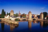 Ponts Couverts, view of bridge above river Ill, old town and cathedral, Strasbourg, Alsace, France, Europe