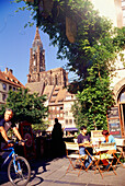 People at Place du Marché-aux-Cochons-de-Lait in front of cathedral, Strasbourg, Alsace, France, Europe