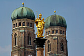 Spires of the Frauenkirche (Church of Our Lady) and Mariensäule, Munich, Bavaria, Germany