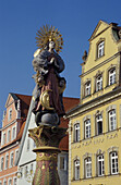 Figure of fountain at market place, Schwaebisch Gmuend, Baden-Wuerttemberg, Germany, Europe