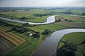 aerial photo of the meanders of the Aller river near Verden, Lower Saxony