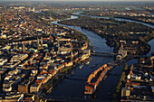 View over Bremen with Weser River, the Free Hanseatic City of Bremen, Germany