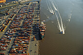 Container harbor, Bremerhaven, the Free Hanseatic City of Bremen, Germany