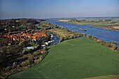 aerial photo of the river Elbe near Hitzacker, Lower Saxony, northern Germany