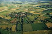 aerial photo of Lübeln,  round village, Rundlingsdorf, in Wendland, Lower Saxony, northern Germany