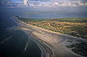 aerial photo of Amrum, one of the North Fresian Islands on the German coast of the North Sea in the Federal State of Schleswig Holstein, Germany