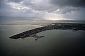 aerial photo of Amrum, one of the North Fresian Islands on the German coast of the North Sea, Schleswig Holstein, Germany