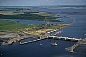 aerial photo of Eidersperrwerk, Eider barrage, North Sea, River Eider, Schleswig-Holstein, northern Germany