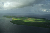 aerial photo of the North Frisian island Hallig Hooge in the North Sea, federal state of Schleswig Holstein, northern Germany
