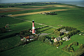 aerial photo of Pellworm lighthouse, North Frisian island, Wadden Sea, federal state of Schleswig-Holstein, North Sea, coast of northern Germany