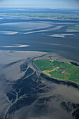aerial photo of North Frisian island Nordmarsch-Langeness, federal state of Schleswig-Holstein, North Sea, northern Germany