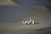 aerial photo of sand yachts, mudflat, sandflat, Wadden Sea, German Bight, North Sea, Schleswig Holstein, northern Germany