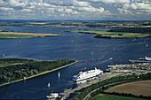 Ferry at pier, Luebeck-Travemuende, Schleswig-Holstein, Germany