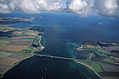 aerial photo of Fehmarn island, Fehmarn Sound Bridge, clouds, Baltic Sea, Schleswig Holstein, northern Germany