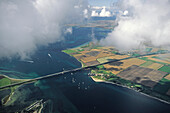 aerial photo of Fehmarn island, Fehmarn Sound Bridge, Baltic Sea, Schleswig Holstein, northern Germany
