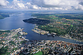 aerial photo of Flensburg fiord, harbour, Schleswig Holstein, Baltic Sea, northern Germany